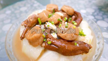 chinesische hausgemachte speisen dry jakobsmuscheln und
