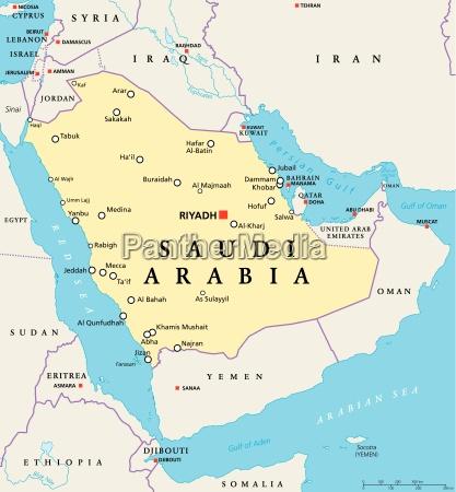 Karte Von Saudi Arabien Und Bahrain