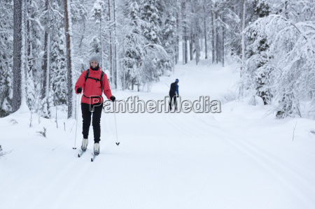 woman cross country skiing in the