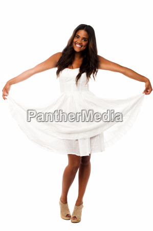 young lady in beautiful white dress