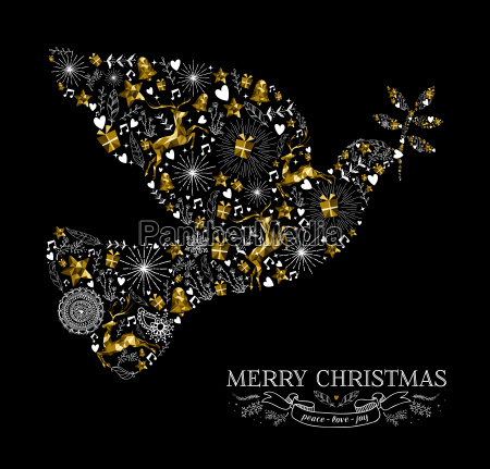 merry christmas dove bird silhouette gold
