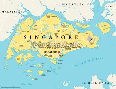 Singapur Politische Karte Stockfoto 15570174 Bildagentur