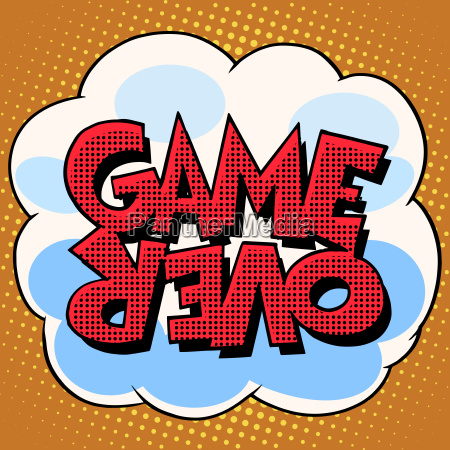 game over comic bubble retro text