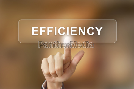 business hand clicking efficiency button on