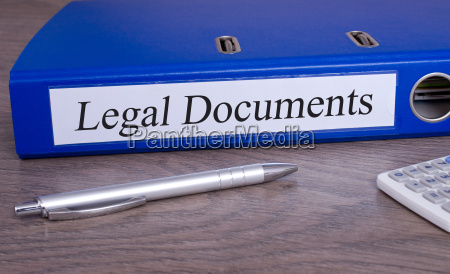legal documents blue binder in