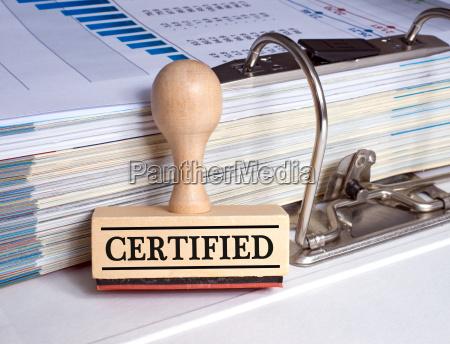 zertifiziert stempel mit binder