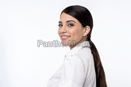 young woman posing casually