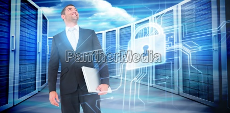 composite image of businessman looking up