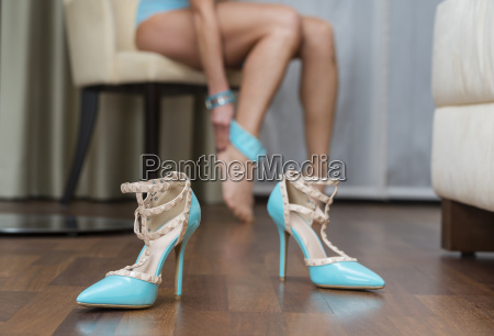 blue stiletto high heels shoes in