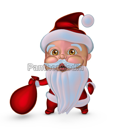 cute santa claus with gifts bag