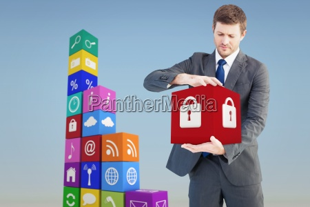 composite image of businessman showing something