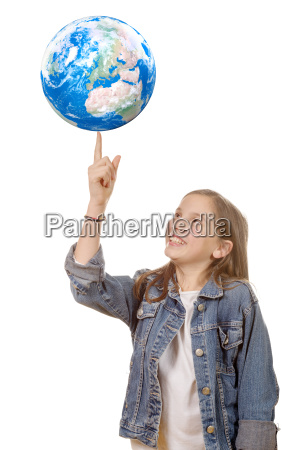 smiling little girl with globe isolated