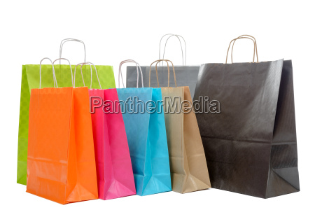 shopping bags collection on white background
