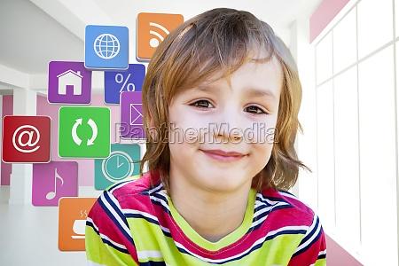 composite image of happy little boy