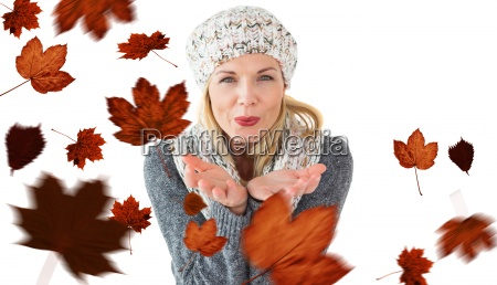 composite image of happy winter blonde