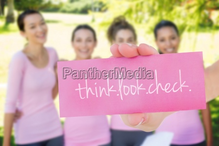 thinklookcheck against smiling women in pink