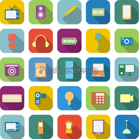 electrical machine color icons with long