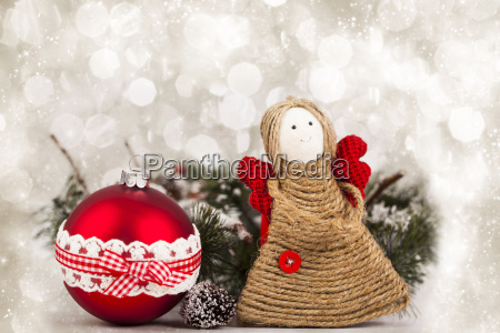 christmas decoration with handmade angel