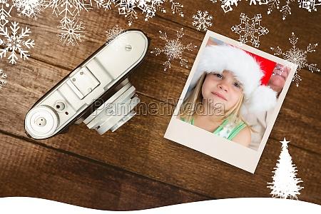 composite image of girl wearing santa