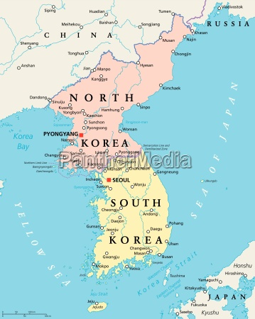 Nordkorea Und Sudkorea Politische Karte Lizenzfreies Foto