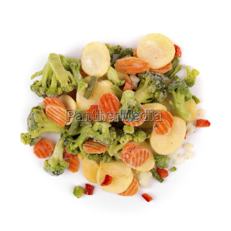top view of frozen vegetables