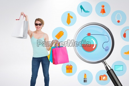 composite image of woman holding shopping