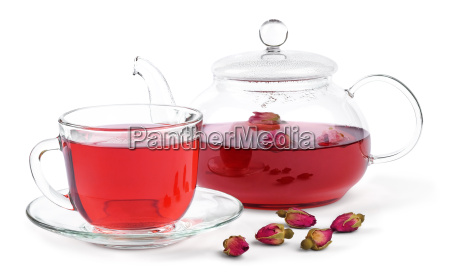 fresh brewed rose tea in a
