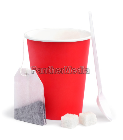 red paper cup disposable tea bag
