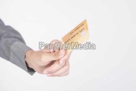 bietet kreditkarte weissem hintergrund