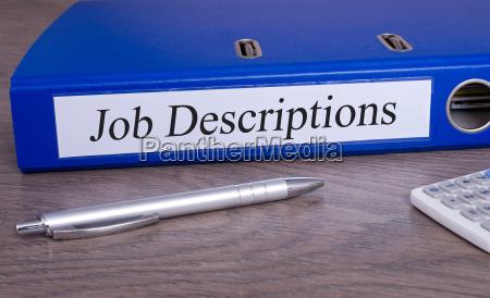 job descriptions binder in the office