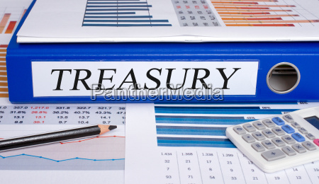 treasury blue binder in the office
