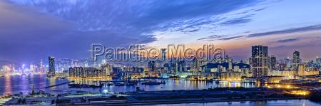 hong kong city sunset