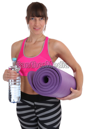 exercise mat fitness woman with water