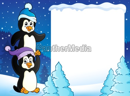 snowy rahmen mit pinguinen