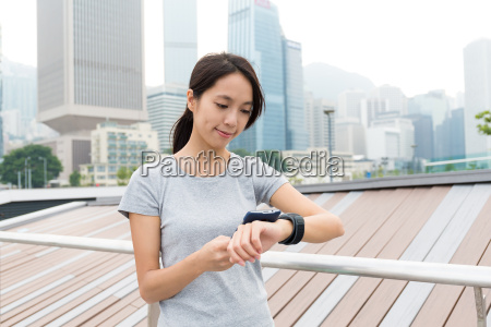 asian young woman sync the data