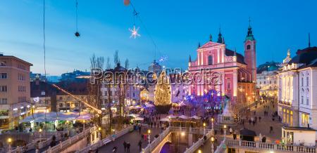 preseren39s square for christmas ljubljana slovenia