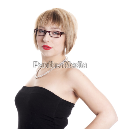 sexy woman with black glasses