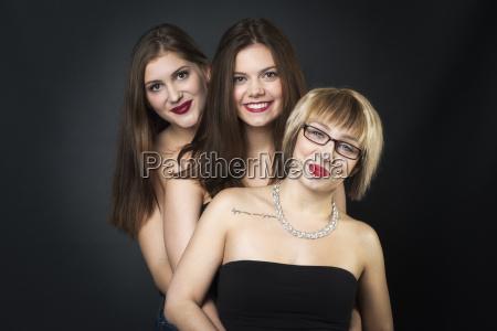 three girlfriends having fun