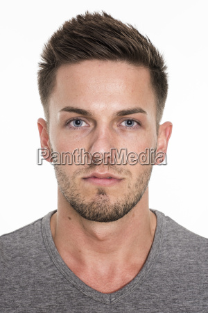 men face with blue eyes and