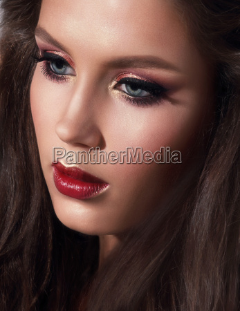 portrait of beautiful girl with makeup