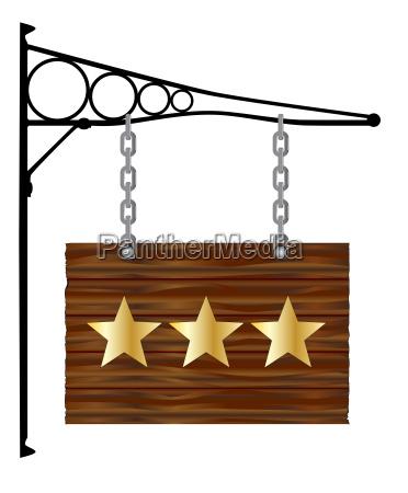 3 star hanging sign