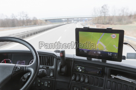 tablet with navigation in truck cabin