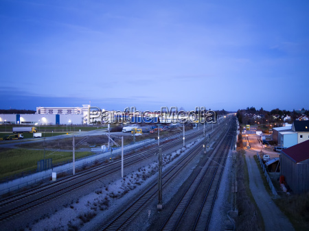 night scene railroad and industrie buildings