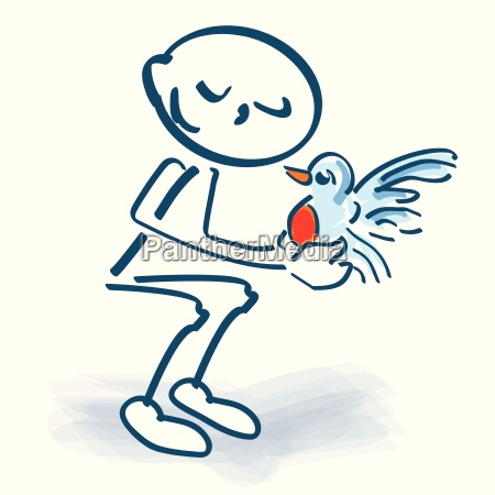 stick figure with a small bird
