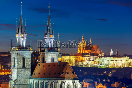 aerial view over old town prague