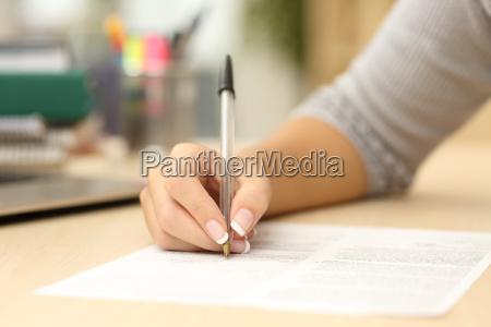 frau, handschrift, oder, die, unterzeichnung, eines - 15784908