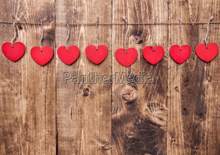 love concept hearts hanging on a