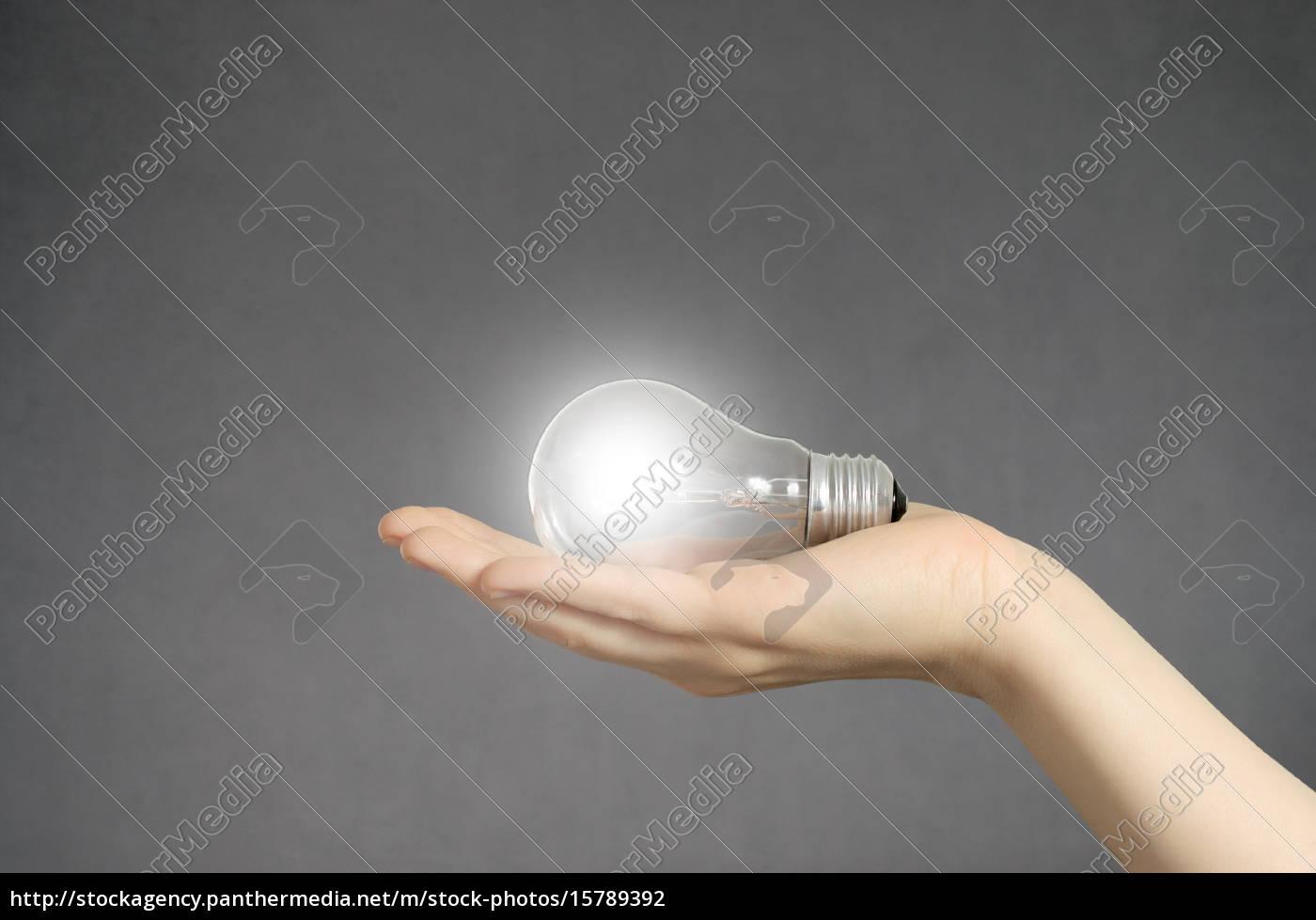 hand, mit, glühbirne, und, exemplar - 15789392