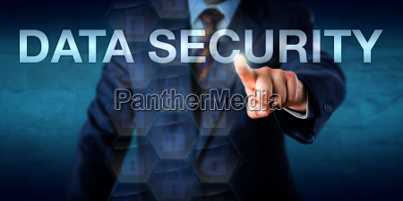 businessman touching data security onscreen