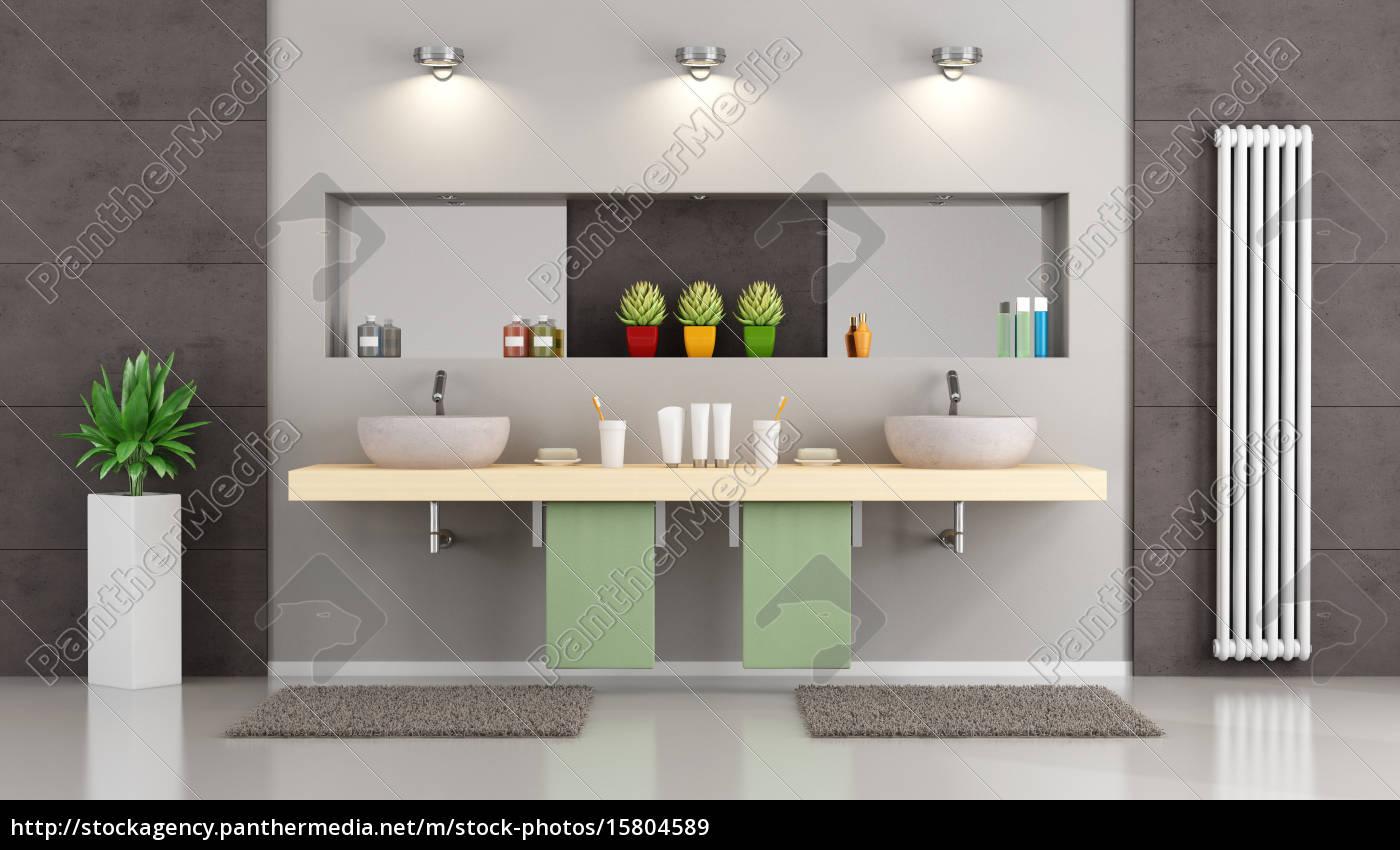 moderne badezimmer mit doppelwaschbecken lizenzfreies bild 15804589 bildagentur panthermedia. Black Bedroom Furniture Sets. Home Design Ideas